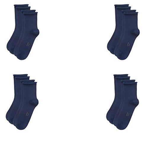 Camano Damen Socken Fashion Ankle Cotton Fine 4er Pack, Größe:35-38, Farbe:Blue (30)