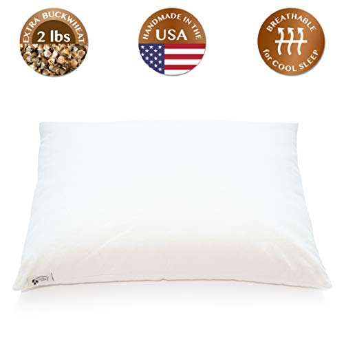 "ComfyComfy Premium Buckwheat Pillow, Standard Size (20"" x 26""), Comes with Extra 2 lb of USA Grown Buckwheat Hulls to Customize for Comfort, Made from Durable Organic Cotton Twill"