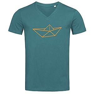 Fair Wear V-Neck Herren T-Shirt 'Schiff Origami' 100% Bio-Baumwolle, reguläre Passform, mit Druck