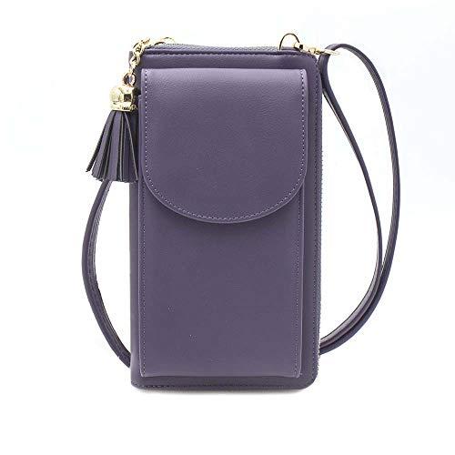 Womens Crossbody Bag Big Tassels Small Cell Phone Shoulder Purse Leather Travel RFID Card Wallet Case Baggap Handbag Clutch for iPhone 11 SE 11 Pro Xr X Xs Max 8/7/6 Plus LG Stylo Samsung (Purple)