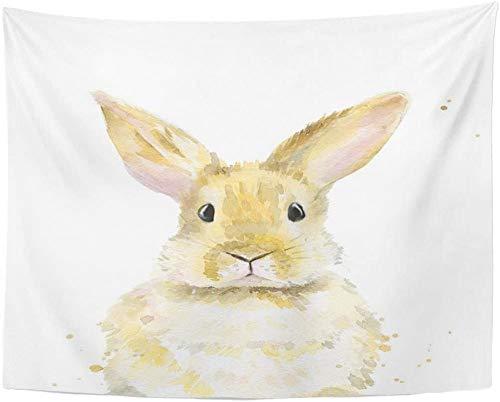 AdoDecor Tapiz Conejo marrón Acuarela en Blanco tapices de Pascua para Colgar en la Pared para Sala de Estar Dormitorio 150x180cm