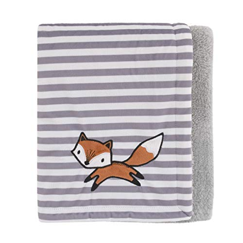 Little Love By Nojo Lil Fox, Grey, White Stripe Plush Baby Blanket With Orange Fox Applique, Grey, White, Orange