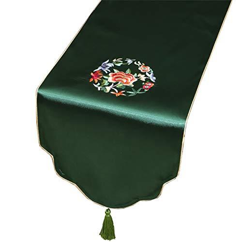 Chemin de Table brodé, Style Classique Convenant aux réceptions de Mariages de Clubs (Couleur : Vert, Taille : 33X150CM)
