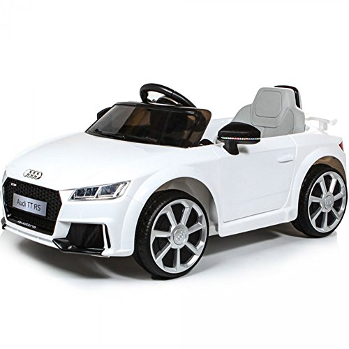 BAKAJI Auto Macchina Macchinina Elettrica per Bambini 6V MP3 Modello Audi TT RS Cabrio Bianca con Luci Suoni e Telecomando Parental Control
