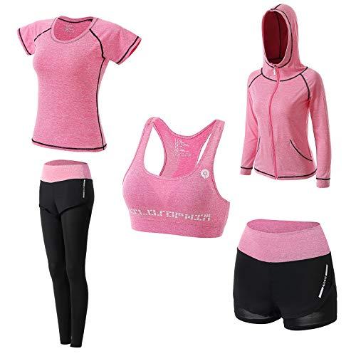 Abbigliamento Sportivo da Donna, T-Shirt 5set Suit per Sport Yoga Ginnastica Sport Include Manica Lunga e Corta, Pantaloni, Reggiseno, Morbido e Traspirante Confortevole (Rosa, L)