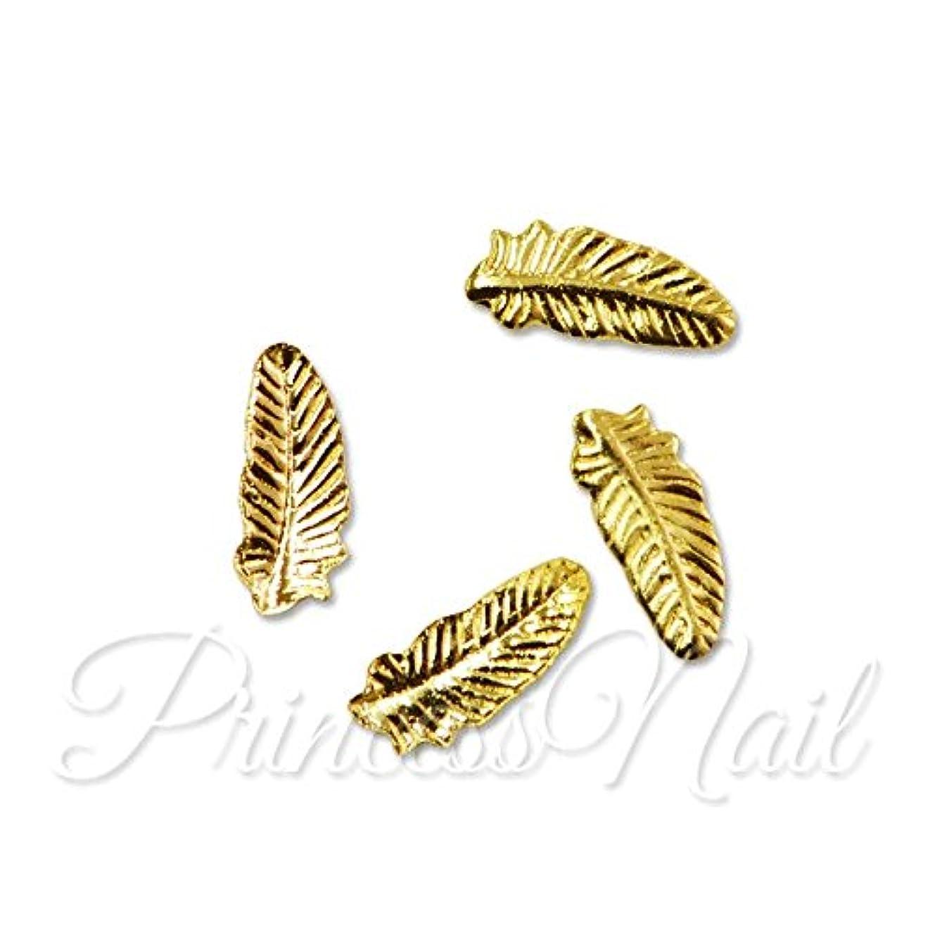 ドリルお嬢電話するメタルパーツ 鳥の羽 M feather ゴールド 3mm×7mm:4個入り MP0009