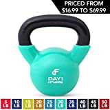 Kettlebell Weights Vinyl Coated Iron by Day 1 Fitness- 30 Pounds - Coated For Floor and Equipment Protection,...