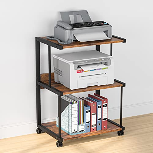 Tribesigns 3-Shelf Printer Stand with Storage, Rolling Printer Table Machine Cart with Wheels, Mobile Desk Organizer Shelves for Office and Home...