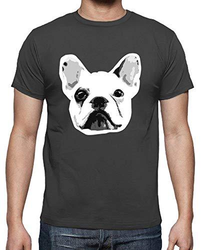 latostadora - Camiseta Bulldog Frances para Hombre Gris ratón S