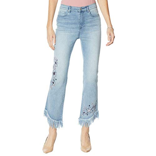 DG2 by Diane Gilman Women's Tall Embellished Fringe Cropped Jeans. 687736-Tall 8 Tall Chambray Blue