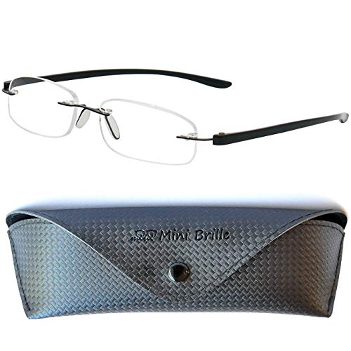 Rimless Reading Glasses with Oval Lenses, Including Free Eyeglasses Case,...