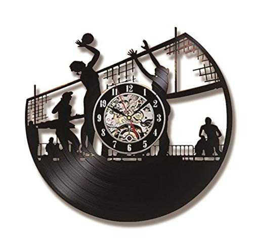 Ayzr Volley-Ball Beach Art Record Creux Horloge Créative Décoration Murale Vinyle LP LED Horloge Murale Moderne Vintage Décor À La Maison
