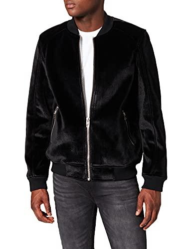 Marca Amazon - find. Chaqueta Bomber Terciopelo Hombre, Negro (Black Black), 3XL, Label: 3XL