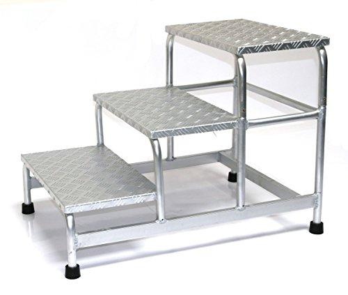 Alu-Montagetritt 3-stufig, HxBxT: 58x61x89cm, Marke: Szagato (Arbeitspodest Stufentritt Tritt Trittleiter Aluminium)