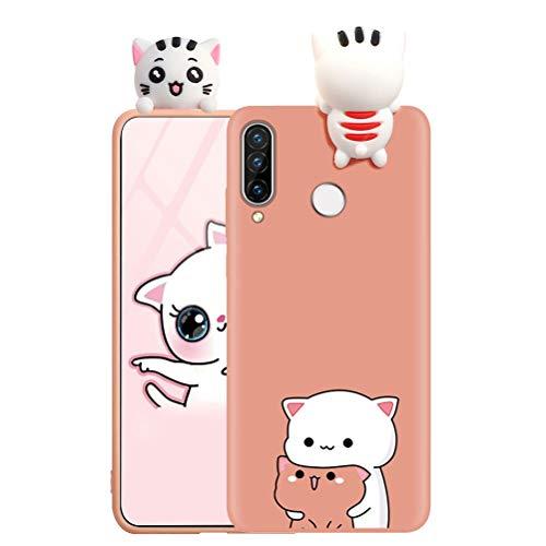 ZhuoFan Custodia Samsung Galaxy A50 / A30s / A50s con 3D Cartoon Doll, Arancia Back Bumper Cover Silicone con Print Gatto Pattern Shockproof Protettiva Phone Cases per Samsung Galaxy A50, Gatto 01