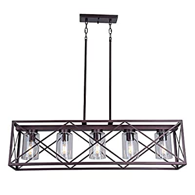 MELUCEE 5-Light Farmhouse Chandelier for Dining Rooms, Metal Industrial Rectangle Kitchen Island Pendant Lighting Oil Rubbed Bronze Finish with Clear Glass Shade