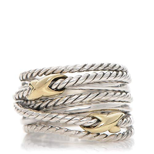 David Yurman Sterling Silver & 18K Yellow Gold Cable Ring - Silver-Gold