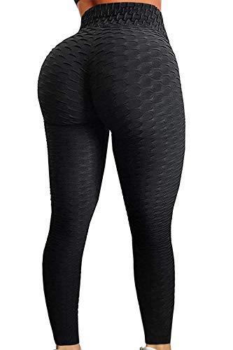 C/N Damen High Waist Leggings Blickdichte Sporthosen Fitness Lange Yogahose Frauen Fitnesshose Jogginghose RC-01(Black,L)