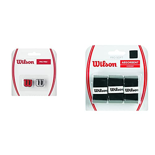 Wilson Unisex Griffband Pro Soft Overgrip, schwarz, 3 Stück, WRZ4040BK & Logo-Vibrationsdämpfer für Tennisschläger, Pro Feel, 2er Pack, rot/Silber, WRZ537600