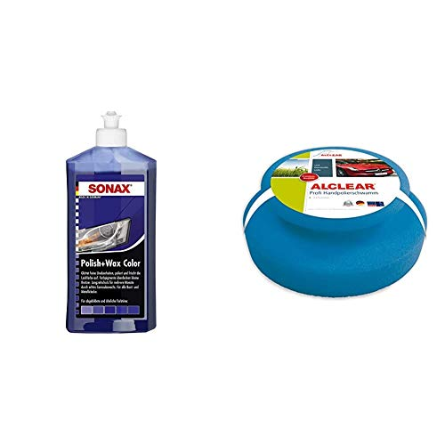 SONAX Polish & Wax Color NanoPro blau (500 ml) Politur mit Farbpigmenten und Wachsanteilen auf Nanotechnologie-Basis   Art-Nr. 02962000 & ALCLEAR 5713050M Auto Profi Handpolierschwamm 130 x 50 mm