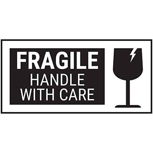 VSafety Fragile handvat met zorg zwart vet Sticker - 51x25mm (rol van 250)