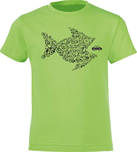 Kinder T-Shirt: Bikes of The World Organize ! - Fahrrad Geschenk-e Jungen & Mädchen - Radfahrer-in Mountain Bike MTB BMX Roller Rad Outdoor Junge Kind - Verkehr Sport Trikot (Grün 116)