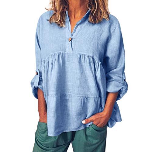 iYmitz 3/4-Arm Damen Streetwear Einfarbig Rundausschnitt Leinen Frauen Freizeit Bluse Sommer...