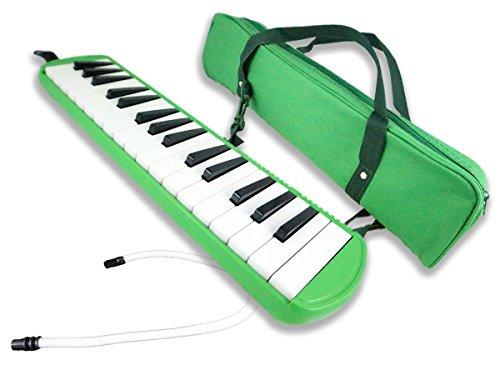 Acandoo Melodica 32 Tasten grün inkl. Anblasschlauch, Mundstück und Tragetasche