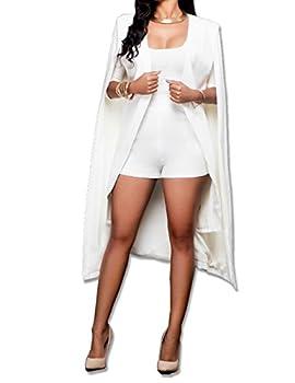 Women s Long Open Slit Sleeve Cloak Capes Jacket 4XXL Open Front Long Slit Blazer Cape Coat Plus Size WH-L  White