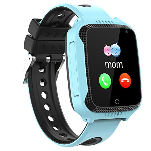 Niños Smartwatch Phone,Reloj Teléfono con GPS LBS Tracker Chat de voz SOS Cámara Despertador Podómetro Linterna para Mirar Regalos Niño Niña Compatible con iOS Android Smart Watch Phone,Azul