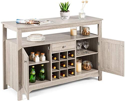 ReunionG Buffet Sideboard, Wine Console Table, Wooden Kitchen Organizer w/2 Cabinets, 1 Drawer and 9 Wine Cabinets, Farmhouse Storage Cupboard, Wine Rack, Server Table, Dining Room Furniture (Gray)