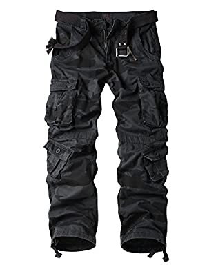AKARMY Must Way Men's Cotton Casual Military Army Camo Combat Work Cargo Pants with 8 Pockets E Camouflage 36