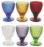 Pagano Home 6 copas de agua – Vino de colores surtidos de cristal, capacidad 26 cl modelo Venezia (rojo, transparente, lila, verde, naranja celeste)