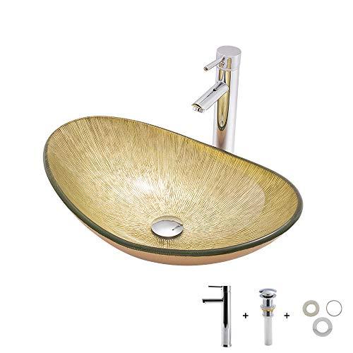 LINLIN Hedendaagse Counter Top Basin Vaartuig wastafel, gehard glas wastafel waskom voor garderobe badkamer met verchroomde rechte kraan