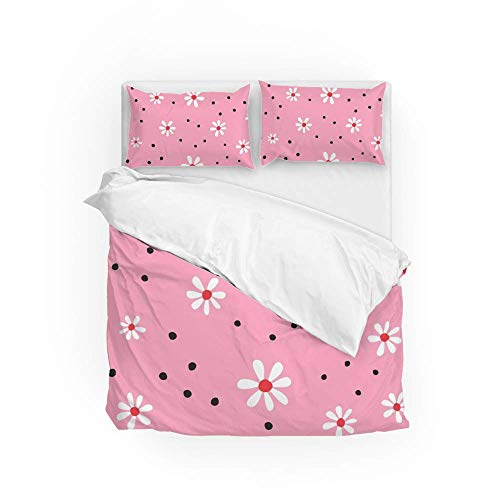 Soft Quilt Bedding Set Flowers And Round Spots Duvet Cover with Pillowcases Set 2 PCS 155 x 220 CM, Full Size