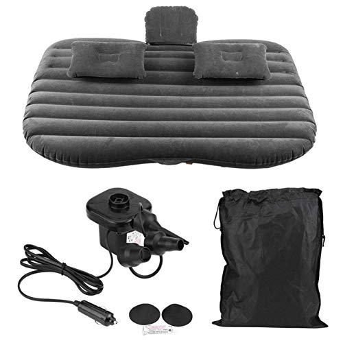 Coche de colchón Inflable SUV, colchoneta Inflable de la Cama de Coches con la Bomba de Aire eléctrica + 2 Almohadas de hasta 150 kg para el Viaje de Camping de Viaje Patio de Playa (Negro)