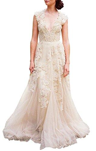 ASA Bridal Women's Vintage Cap Sleeve Lace Wedding Dress A Line Evening Gown Champagne 24