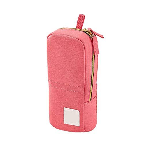 Estuche de pie para lápices de gran capacidad para bolígrafos, multifunción, lona rosa, regalo para estudiantes