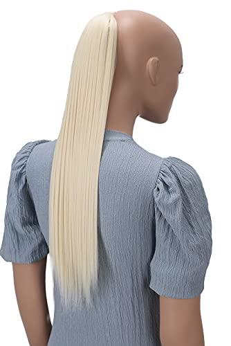 PRETTYSHOP 60cm Postiche Natte Queue De Cheval Extensions De Cheveux Raide Blond Platine HC29