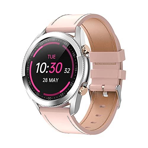Blesiya Reloj Inteligente I12 para teléfonos Android y teléfonos iOS rastreador de Actividad podómetro Seguimiento de Pasos - Rosa y Correa de Cuero Rosa