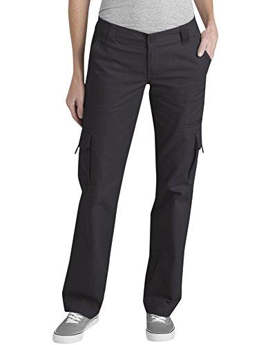 Dickies Women's Relaxed Cargo Pant, Rinsed Black, 12 R
