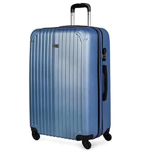 ITACA - Maleta de Viaje Grande XL rígida 4 Ruedas Trolley 76 cm de abs. Dura Extensible y Ligera. Gran Capacidad. Estudiante y Profesional. candado Integrado. t71570, Color Azul Zafiro