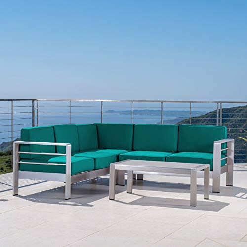 UKN Outdoor 5 Seater Sectional Sofa Set Silver Modern Contemporary Cushion Included