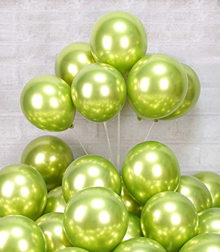 AULE Metallic Lime Green Balloons 12 inch 50 Pcs Neon Green Latex Balloons Chrome Helium Shiny Thicken Balloon Perfect Party Decoration for Wedding Birthday Baby Shower Graduation Christmas Carnival