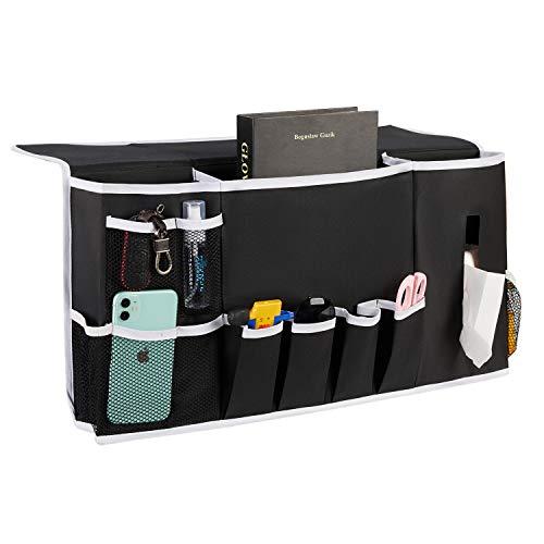 Flyingshark Bedside Caddy Organizer Dorm Room Essentials, Non-Slip Bedside Pockets for School Supplies Gadgets Storage and Laptop (White Side)