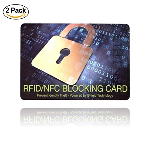 [ Lot de 2 ] Carte Anti RFID NFC - Protection des Cartes Bancaires sans Contact - Plus Besoin d'étuis, placez Cette Carte dans Votre Portefeuille ou Votre Sac Contre Le piratage des données - (x2)