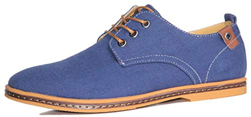 CAGAYA Chaussure Homme Baskets à Lacets Casual Basses Travail Business Dressing Mariage Oxford 38 48 (41 EU, Canvas Bleu 1247)
