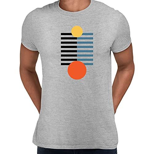 KuziTees Pop Art Print T-Shirt Happy Shapes Abstracto Diseño Manga Corta Cuello Redondo Divertido Unisex Camiseta