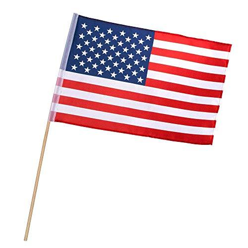 Boland 44954 - Fahne Amerika, Größe 30 x 45 cm, Länge Holzstab 60 cm, Polyester, USA, Vereinigte Staaten, Flagge, Banner, Dekoration, Geburtstag, Motto, Party, Karneval, Halloween