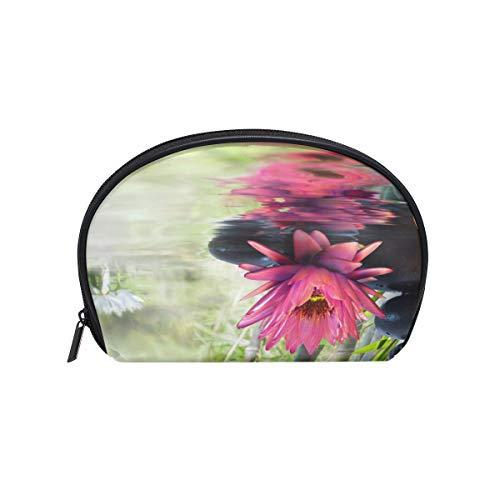 TIZORAX Nature Lily Stones Bambus-Kosmetiktasche, Reise-Organizer, Tasche, Make-up-Tasche, Geldbörse für Frauen und Mädchen